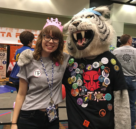 Amy with a mascot