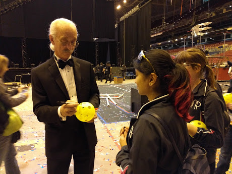 Woodie Flowers signing FRC ball
